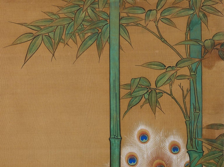Hand-Painted 19th Century Japanese Silk Painting by Kano Chikanobu, Peacock & Bamboo For Sale