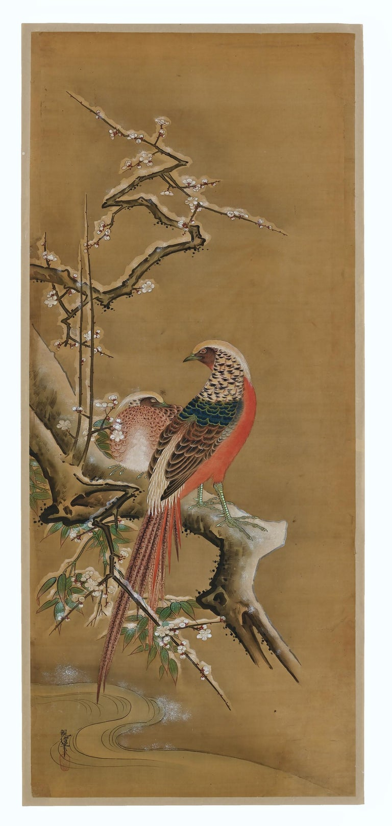 Birds & Flowers of the Seasons  Pheasants & Plum in Snow  Ink, pigment and gofun on silk  Kano Chikanobu 1819-1888  Signature: Chikanobu  Seal: Shateki  Offered here is an unframed 'kacho-e' painting by the 19th century Japanese
