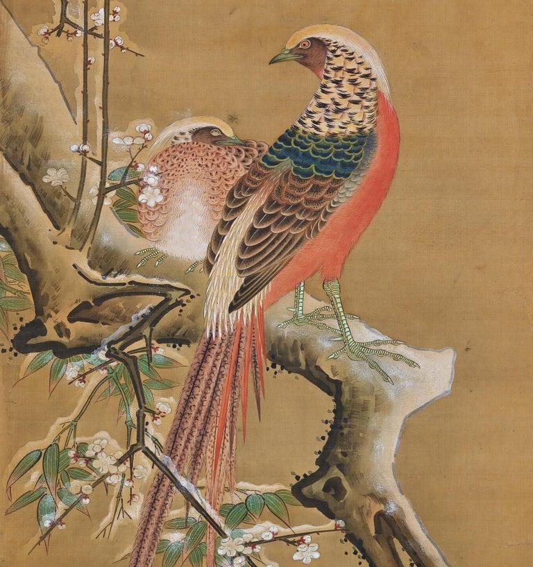 Edo 19th Century Japanese Silk Painting by Kano Chikanobu, Pheasants & Plum in Snow For Sale