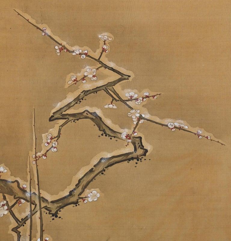 Asian 19th Century Japanese Silk Painting by Kano Chikanobu, Pheasants & Plum in Snow For Sale