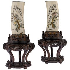 19th Century Japanese Silver Mounted Shibayama Vases on Stands, circa 1890