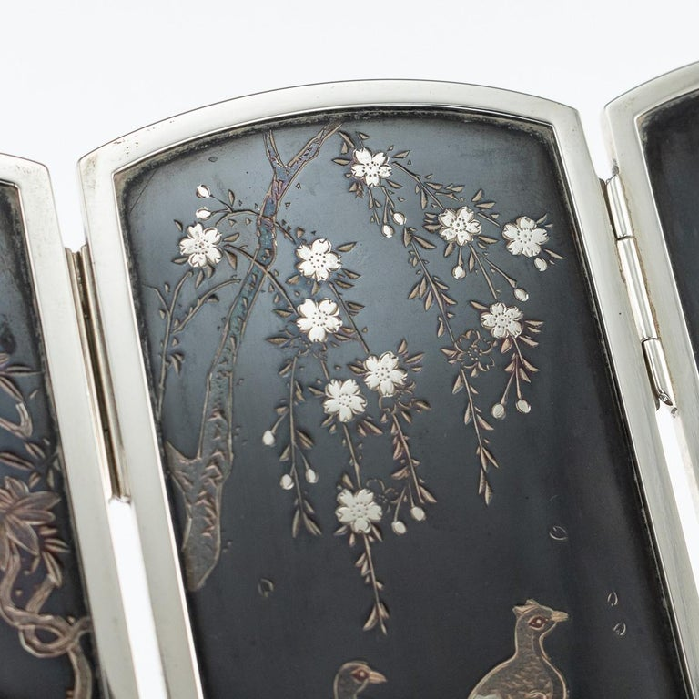 19th Century Japanese Solid Silver & Shibuichi Folding Table Screen, circa 1890 For Sale 8
