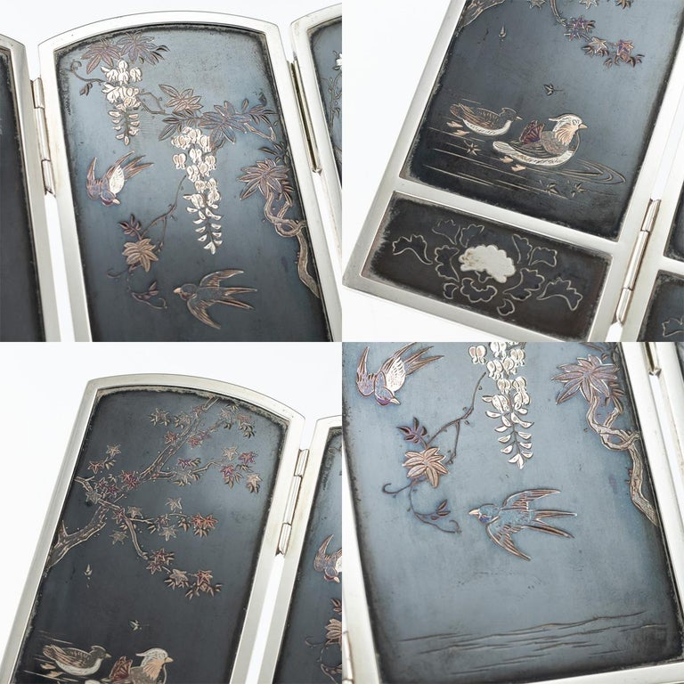 19th Century Japanese Solid Silver & Shibuichi Folding Table Screen, circa 1890 For Sale 9
