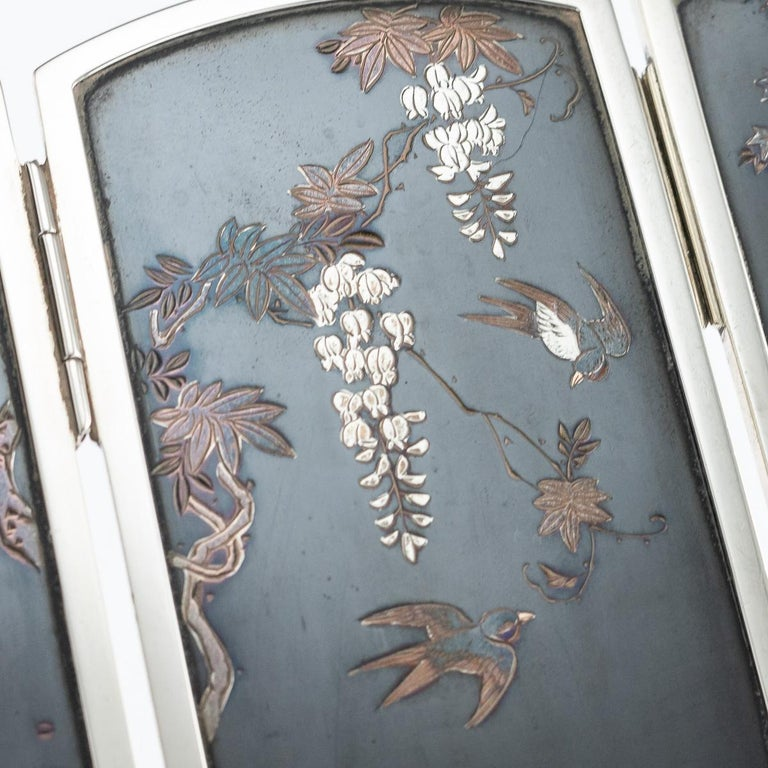 19th Century Japanese Solid Silver & Shibuichi Folding Table Screen, circa 1890 For Sale 2