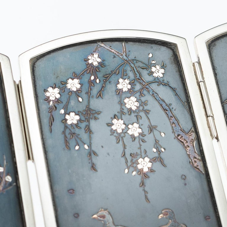 19th Century Japanese Solid Silver & Shibuichi Folding Table Screen, circa 1890 For Sale 4