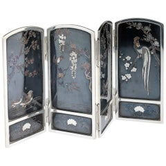 19th Century Japanese Solid Silver & Shibuichi Folding Table Screen, circa 1890