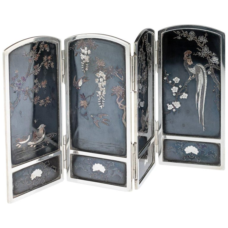 19th Century Japanese Solid Silver & Shibuichi Folding Table Screen, circa 1890 For Sale