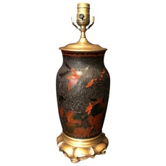 19th Century Japanese Totai Shippo Tree Bark Vase as Lamp