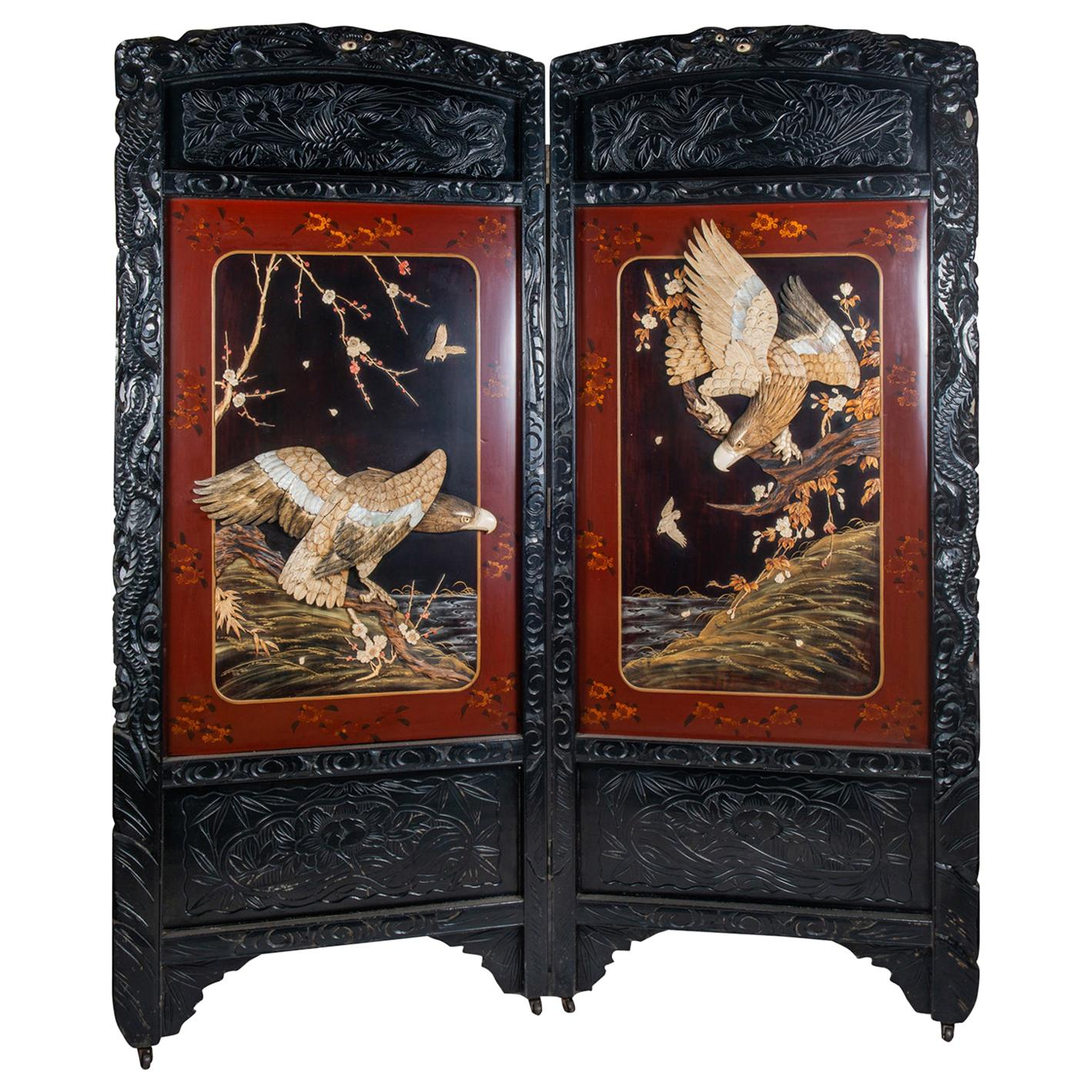 19th Century Japanese Two Fold Screen