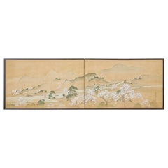 19th Century Japanese Two-Panel Screen Blossoming Cherry Trees