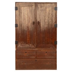 19th Century Japanese Two-Section Kiri Wood Wardrobe with Ombre Finish