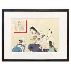 19th Century Japanese Woodblock Print Depicting Monks Having Tea, in Black Frame