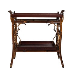 19th Century Japanned Bamboo Tray Table