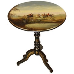 French 19th Century Napoleon III Japanned Salon Side Table with Foxhunting Scene