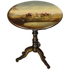 19. Jahrhundert Lackierter Dreifuß-Tisch mit Fuchsjagd-Szene
