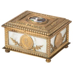 19th Century Jewelery Box by JP Legastelois, Bronze with Mother of Pearl