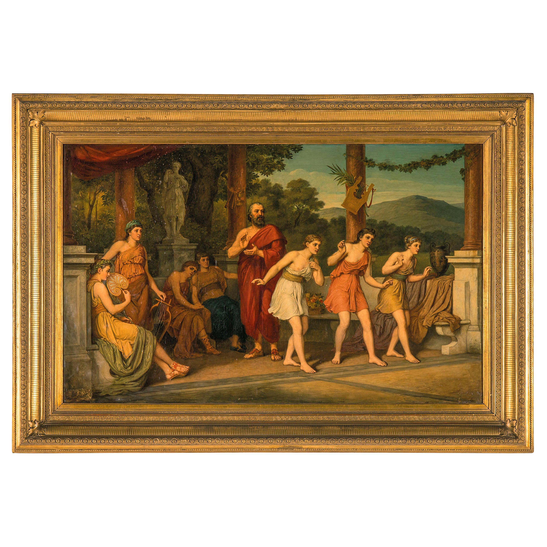 19th Century, Dance Scene in Ancient Greece signed Johan Raphael Smith
