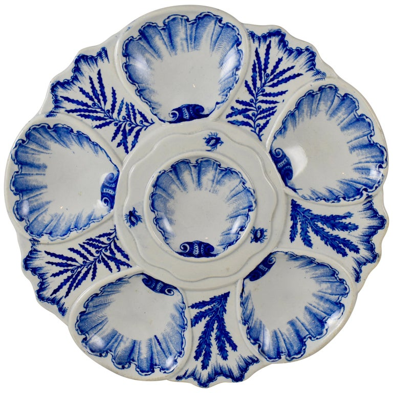 19th Century Jules Vieillard Cie French Blue White Chinoiserie Oyster Plate