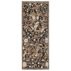 19th Century Karabagh Brick Red, White and Brown Handwoven Wool Rug