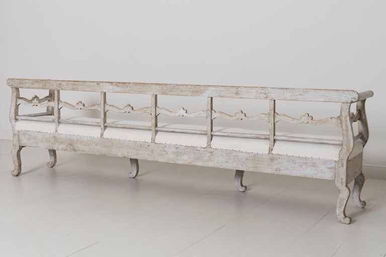 19th Century Karl Johan Period Original Paint Long Sofa Bench For Sale 4