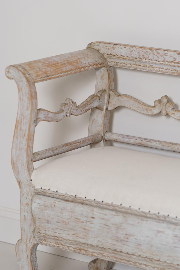Hand-Carved 19th Century Karl Johan Period Original Paint Long Sofa Bench For Sale