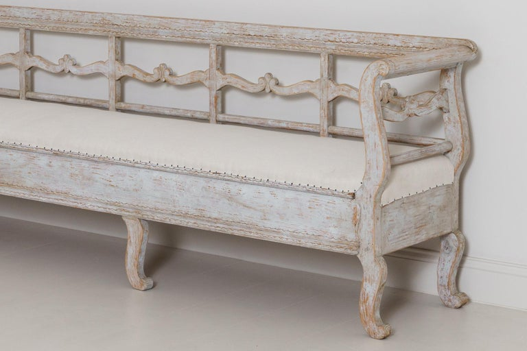 19th Century Karl Johan Period Original Paint Long Sofa Bench In Good Condition For Sale In Wichita, KS