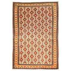 19th Century Kazak Handmade Wool Rug in Red, Yellow and Blue