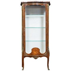 19th Century Kingwood and Marquetry Serpentine Vitrine