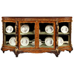 19th Century Kingwood and Walnut Marquetry Display Cabinet