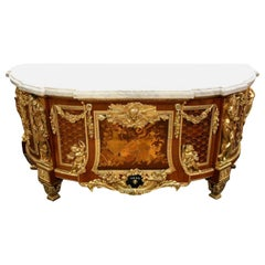 19th Century Kingwood Carrara Marble-Top Commode