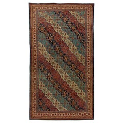 19th Century Kirman Bold Red, Dark and Light Blue Handwoven Wool Rug