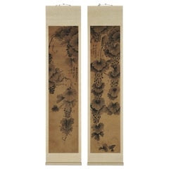 19th Century Korean Grapevine Scroll Painting Pair, Late Joseon Period