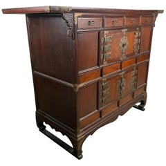 19th Century Korean Tansu Elmwood Chest with Brass Trim