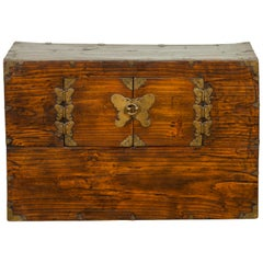 19th Century Korean Wooden Side Chest with Brass Butterfly Hardware