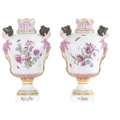 19th Century KPM Pair Gilt / Foral Porcelain Decorative Urns