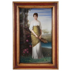 19th Century KPM Porcelain Plaque of Young Girl