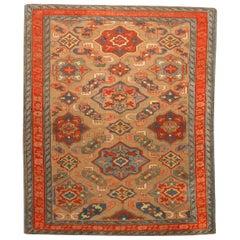 19th Century Kuba Orange and Blue Handmade Wool Rug