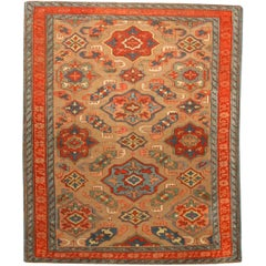 19th Century Kuba Orange and Blue Handmade Wool Rug