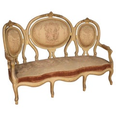 19th Century Lacquered and Giltwood French Louis Philippe Sofa, 1850