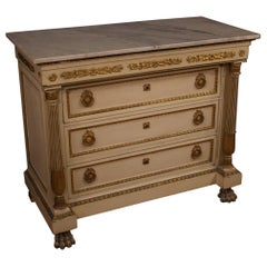 19th Century Lacquered and Giltwood with Marble Top Italian Dresser, 1870