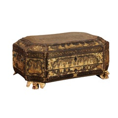 19th Century Lacquered Chinoiserie Sewing Box