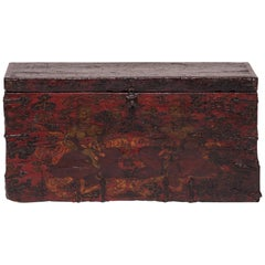 19th Century Lacquered Tibetan Trunk