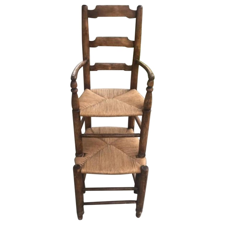 19th Century Ladder Back Tall Chair with Rush Seats For Sale
