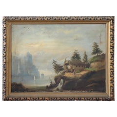 19th Century Lake Landscape with Golden Frame