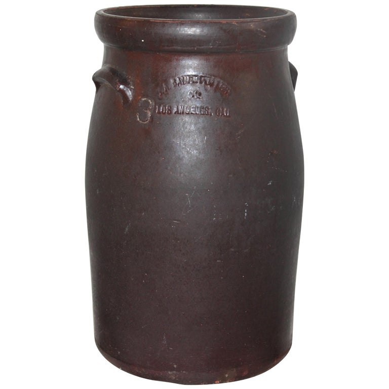 19th Century Large 3 Gal. Crock or Butter Churn Made in  Los Angeles For Sale