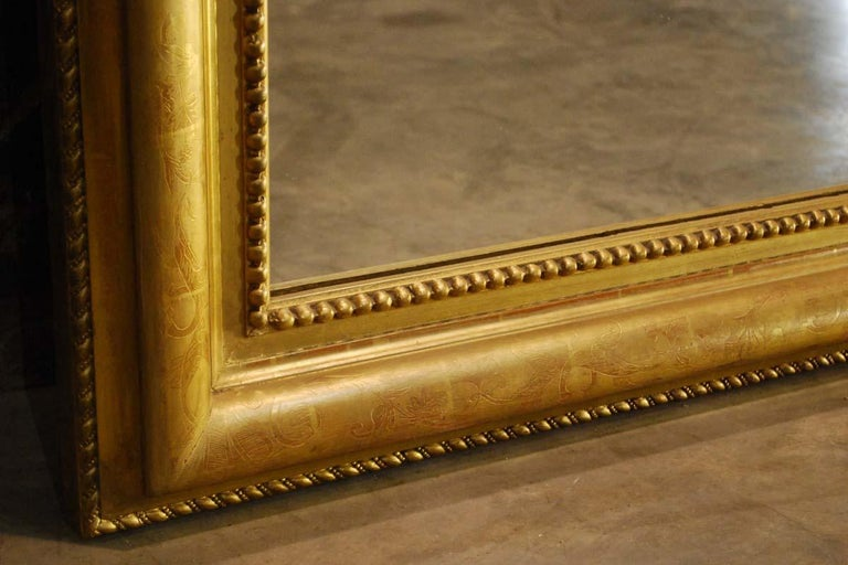 19th Century Large Antique French Louis Philippe Gold Leaf Mirror For Sale 8