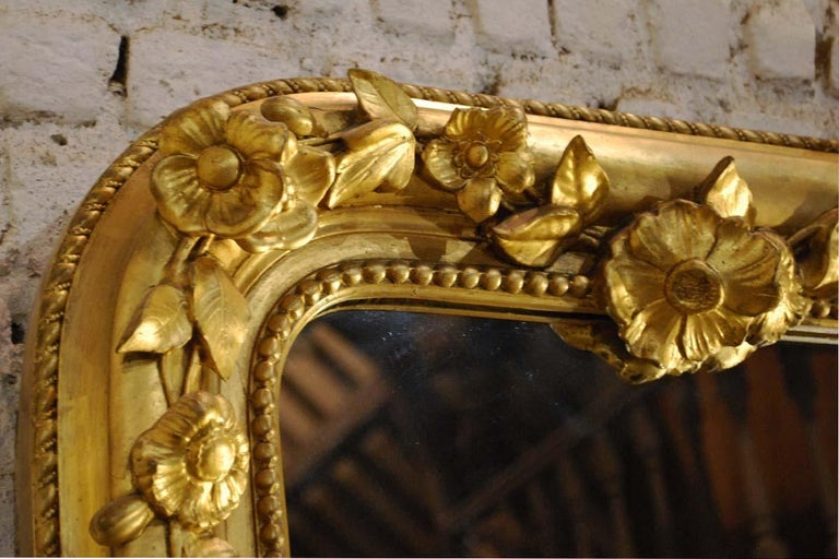 19th Century Large Antique French Louis Philippe Gold Leaf Mirror For Sale 2