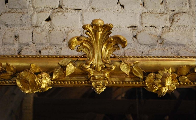 19th Century Large Antique French Louis Philippe Gold Leaf Mirror For Sale 3