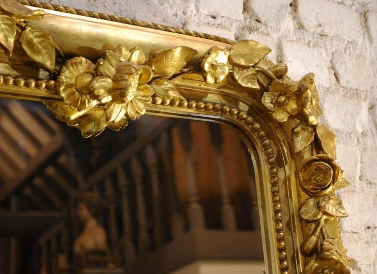 19th Century Large Antique French Louis Philippe Gold Leaf Mirror For Sale 4