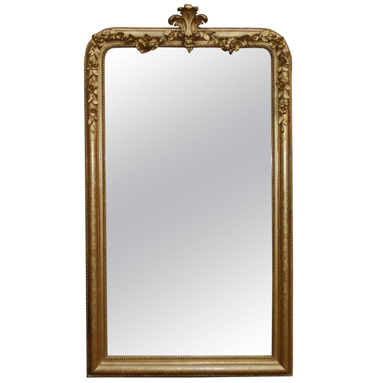 19th Century Large Antique French Louis Philippe Gold Leaf Mirror For Sale